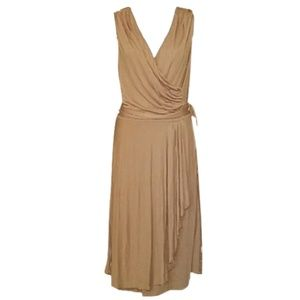 Ralph Lauren Tan Faux Wrap Drape Dress NEW